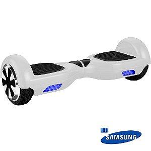 Hoverboard 6,5pol Skate Elétrico Branco Bat Samsun