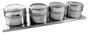 Porta Temperos E Condimentos Em Aço Inox Com Imã 4 Potes