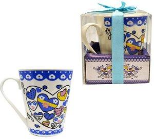 Caneca de Porcelana Coração Azul 320 ml