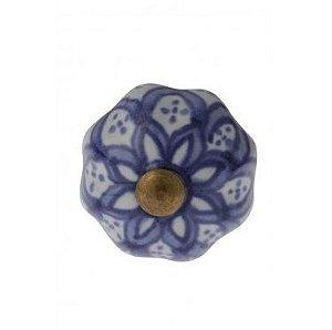 Puxador em cerâmica em azul