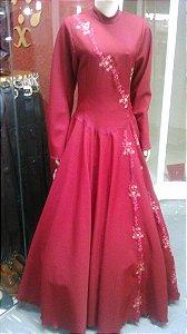 Vestido de Prenda Bordado Bordo (36)