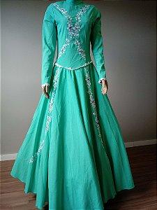 Vestido de Prenda Bordado Verde Claro (36)