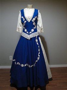 Vestido de Prenda Azul com Blusa Branca (40)