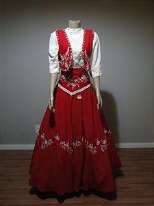 Vestido de Prenda Bordado Conjunto Vermelho (42)