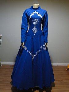 Vestido de Prenda Bordado Azul (46)