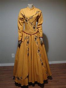 Vestido de Prenda Bordado Mostarda (42)