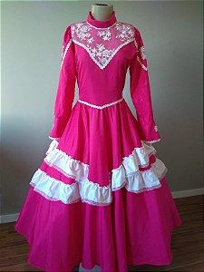 Vestido de Prenda Pink Bordado com Renda (16a)