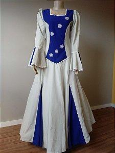 Vestido de Prenda Bordado Azul e Gelo (38)