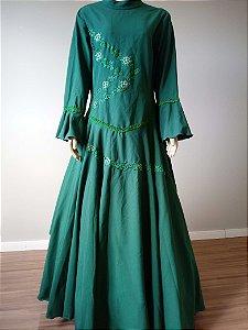 Vestido de Prenda Bordado Verde (52)