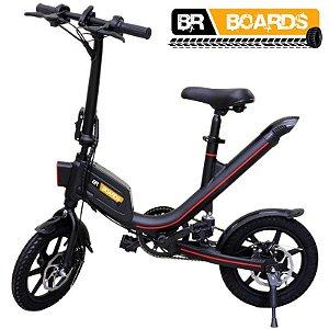Bicicleta Elétrica BR Boards Aro 14 Potência 36V 300W Preta (com pedal)