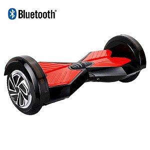 Hoverboard Skate Elétrico Smart Balance Wheel com Bluetooth 8 polegadas - Preto com Vermelho