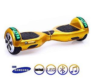 Hoverboard Skate Elétrico Smart Balance Wheel 6,5 Polegadas com Bluetooth - Dourado