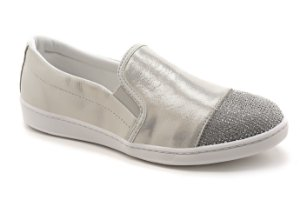 A12042 - Slip On Marina Mello - Cristal Off White | Strass Prata