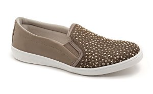 Slip On Marina Mello - Tela Flat Amêndoa | Hot Fix