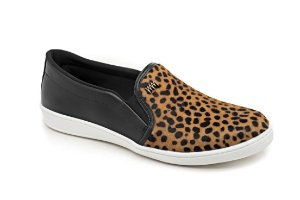 C12017 - Slip On Marina Mello - Preto | Pelo Cheetah