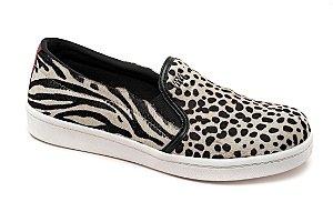 C15017 - Slip On Marina Mello - Pelo Cheetah Branco
