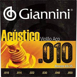 Encordoamento Violao Giannini Acustico Aço 010
