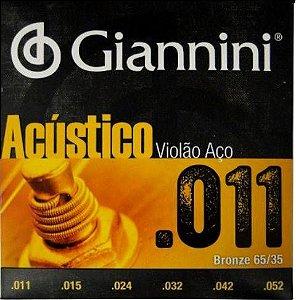 Encordoamento Violão Aco Giannini 011 Acustico