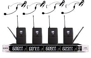 Microfone Headset Sem Fio KSR PRO Quadruplo BS054B2 Digital