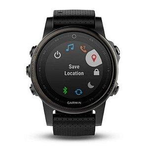 Relógio Multiesportivo Garmin Fenix 5X Vidro em Safira Preto com Monitor Cardíaco no Pulso
