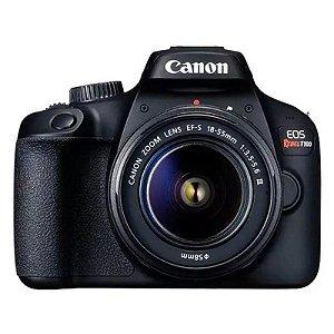 "Câmera Digital Canon EOS Rebel T100 DSLR com 18 MP 3"" Full HD EF-S 18-55MM STM"