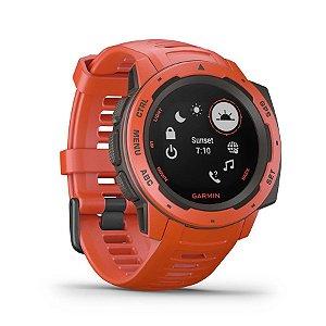 Relógio Garmin Instinct Vermelho com GPS e Monitor Cardíaco no Pulso