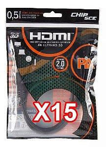 Kit com 15 Cabos de dados HDMI 50cm V1.4 1080p (full HD)