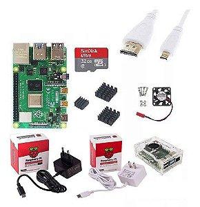 Kit Raspberry Pi 4B 4GB + Case Oficial com Dissipador e Cooler + Fonte + Cabo Hdmi e Micro SD 64GB