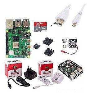 Kit Raspberry Pi 4B 2GB + Case Oficial com Dissipador e Cooler + Fonte + Cabo Hdmi e Micro SD 32GB