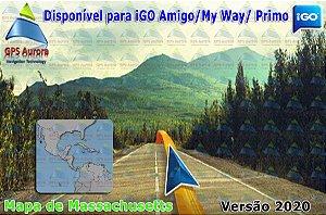 Atualização iGO para GPS ou Cartão - Mapa de Massachusetts 2020 + POIS