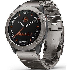 Relógio Multi Esportivo Garmin Fenix 6X PRO Solar com Pulseira em Titânio + Monitor Cardíaco e Pagamentos
