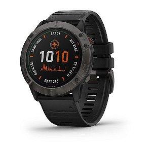 Relógio Multi Esportivo Garmin Fenix 6X PRO Solar em Carbono com Pulseira Preta 51mm + Monitor Cardíaco e Pagamentos