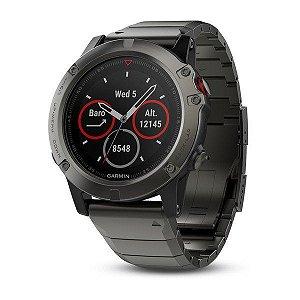 Relógio Multiesportivo Garmin Fenix 5X Vidro Safira com Pulseira em Metal Cinza com Monitor Cardíaco - Retire
