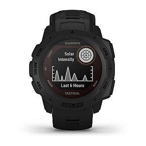 Relógio Garmin Instinct Solar vidro PowerGlass - Preto com GPS e Monitor Cardíaco no Pulso