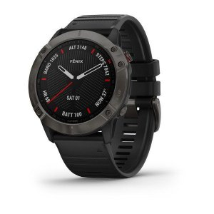 Relógio Multi Esportivo Garmin Fenix 6X PRO G.Glass em Carbono com Pulseira Preta + Monitor Cardíaco e Pagamentos