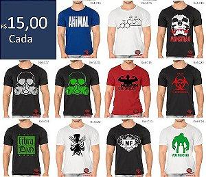 Pacote 20 Camisetas Academia, Treino  e uso casual em algodão fio 30.1 Alta qualidade - Pode escolher os modelos