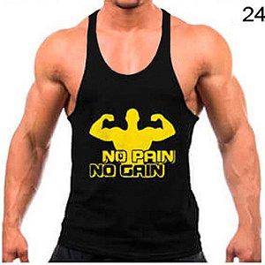 08e00aead5 Regata cavada Musculação Fitness No pain no gain