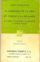 Livro La Sabiduría de La Vida-en Torno a La Filosofía... Autor Arthur Schopenhauer (1984) [usado]