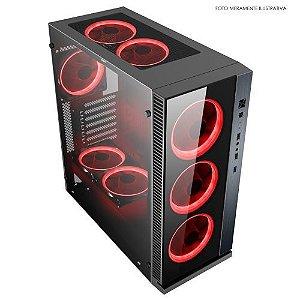 Gabinete Pc Gamer Nfx Dark Raptor Preto - SEM FONTE e COOLERS VERMELHO