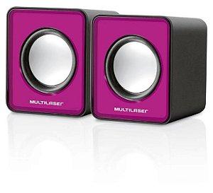 Caixa De Som 2.0 Mini 3w Rms Rosa Multilaser - SP198