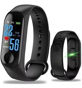 Relógio Smart Band Pulso M3 Bluetooth Cardíaco Pressão Passo