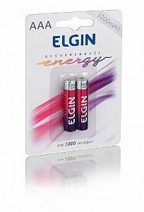 Pilha AAA Recarregável Elgin 1,2V 1000mAh Blister com 2 un.