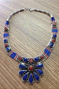 Colar Nepal Lapiz - Lazuli e Coral Vermelho - Semi Joia