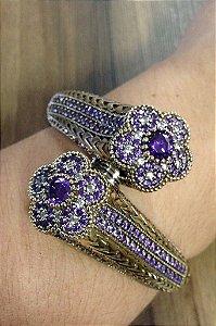 Bracelete Flor Dupla Encrustado de Zirconias - Prata turca