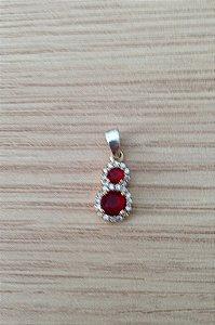 Pingente Pedras Vermelhas - Prata Turca