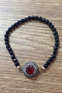 Pulseira Turca pedra vermelha - Prata Turca