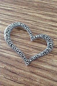 Pingente Coração com Marcassitas - Prata de Lei 925