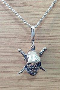 Pingente Pirata - Caveira com Facas - Prata de Lei 925
