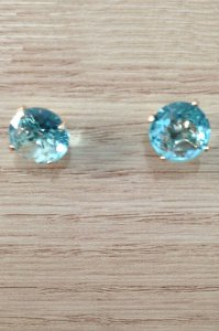 Brinco Solitário Cristal Azul - Rommanel