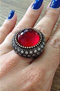 Anel Pedra Vermelha - Prata Turca